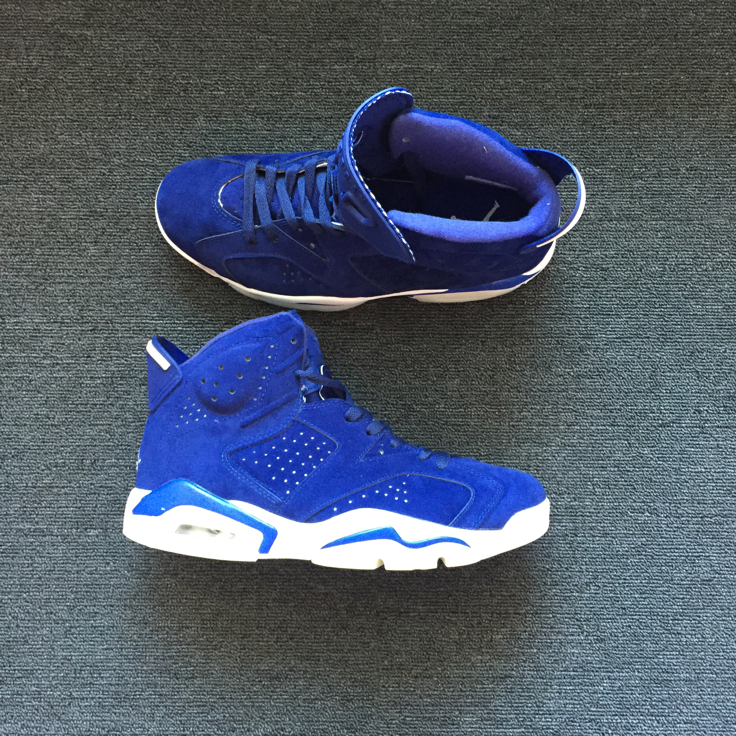Men Air Jordan 6 Deer Skin Sea Blue Shoes