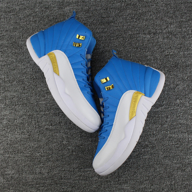 Men Air Jordan 12 Retro Blue Gold White Shoes