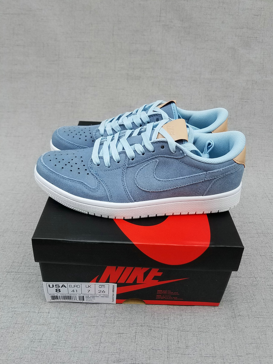 Men Air Jordan 1 Low Ice Blue Shoes