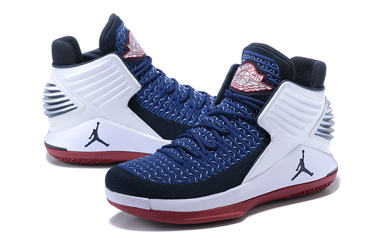 Men Jordan 32 High Blue White Red Shoes