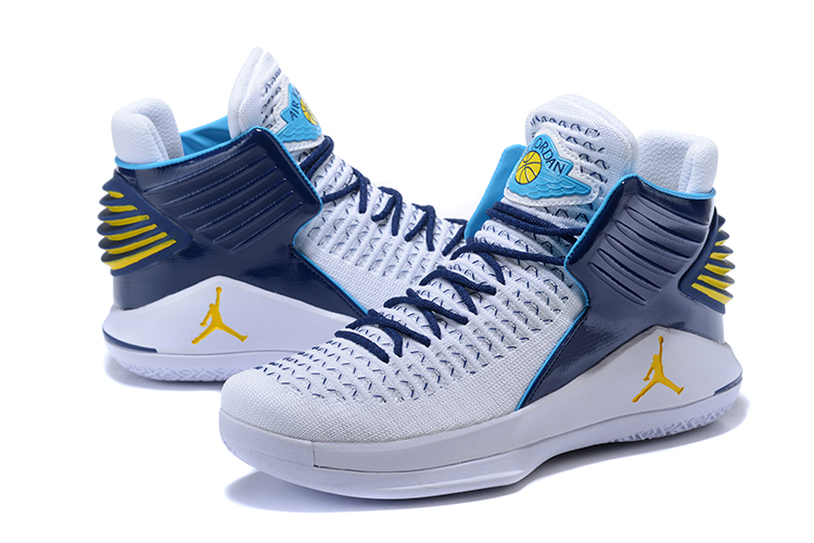 Men Jordan 32 High White Blue Yellow Shoes