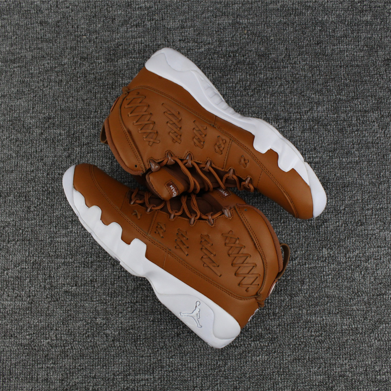Men Jordan 9 Flyknit Brown White