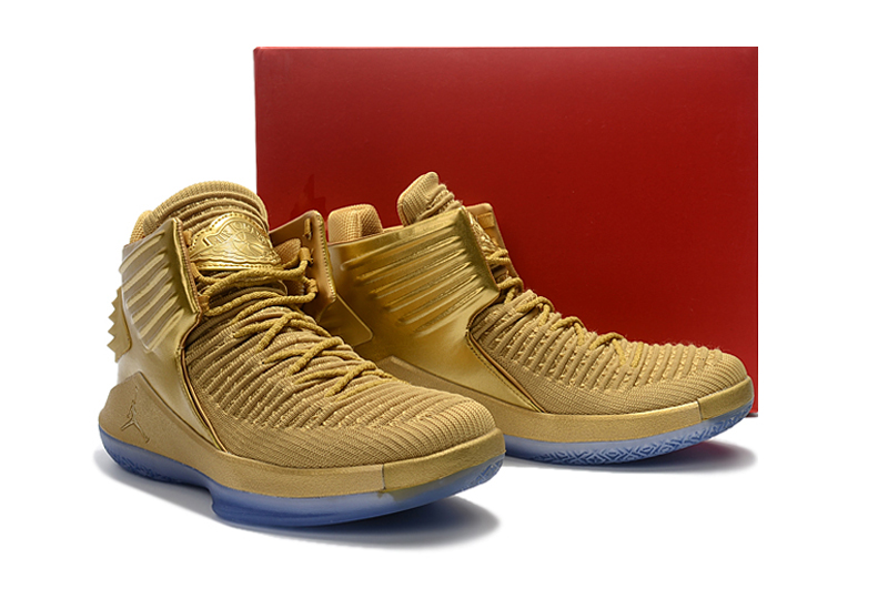 Men Jordan XXXII All Gold Shoes