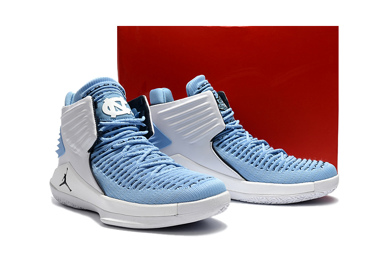 Men Jordan XXXII Baby Blue Silver Shoes
