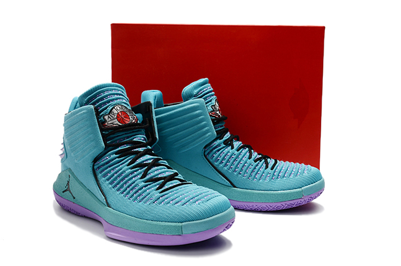 Men Jordan XXXII Jade Blue Purple Shoes