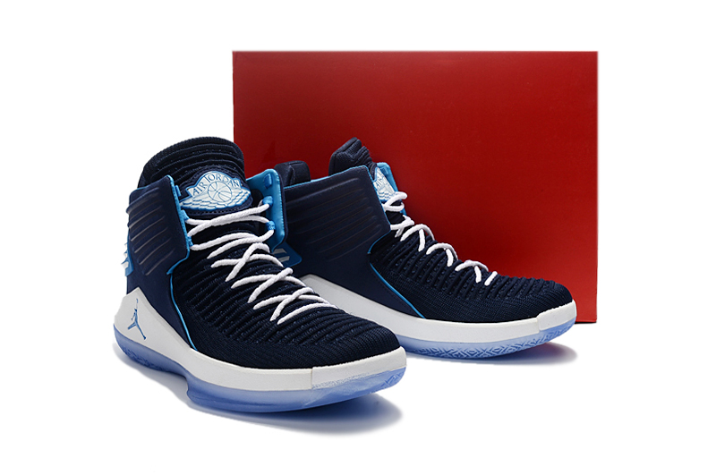Men Jordan XXXII Sea Blue White Shoes