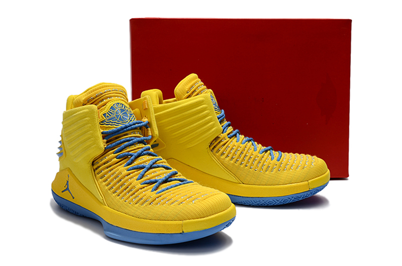 Men Jordan XXXII Yellow Blue Shoes
