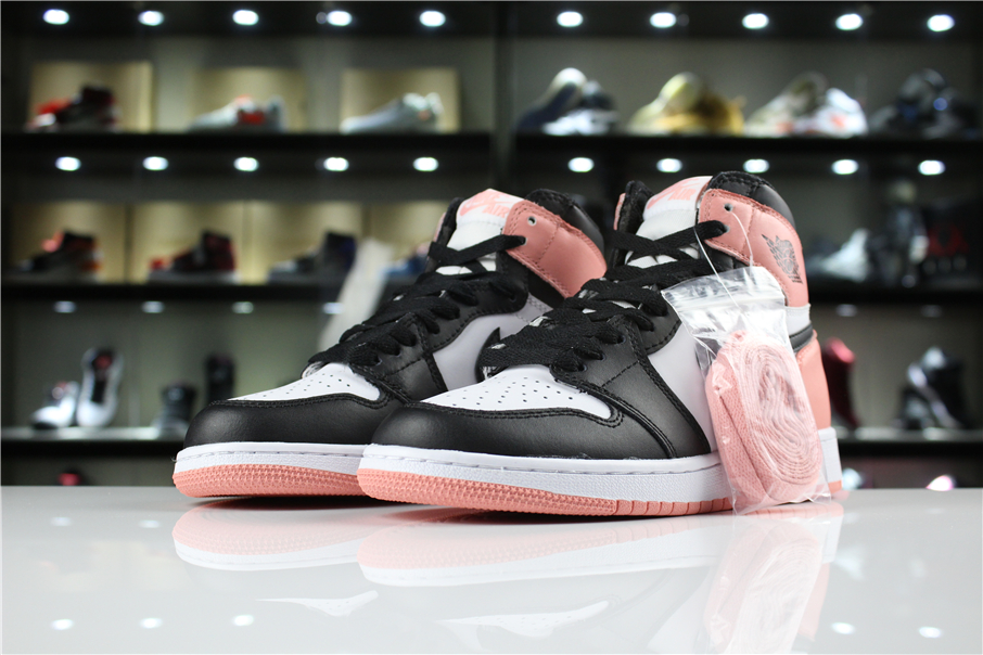 New Women Air Jordan 1 Black Pink White Shoes