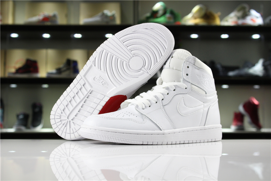 New Women Air Jordan 1 Retro All White Red Heart Shoes
