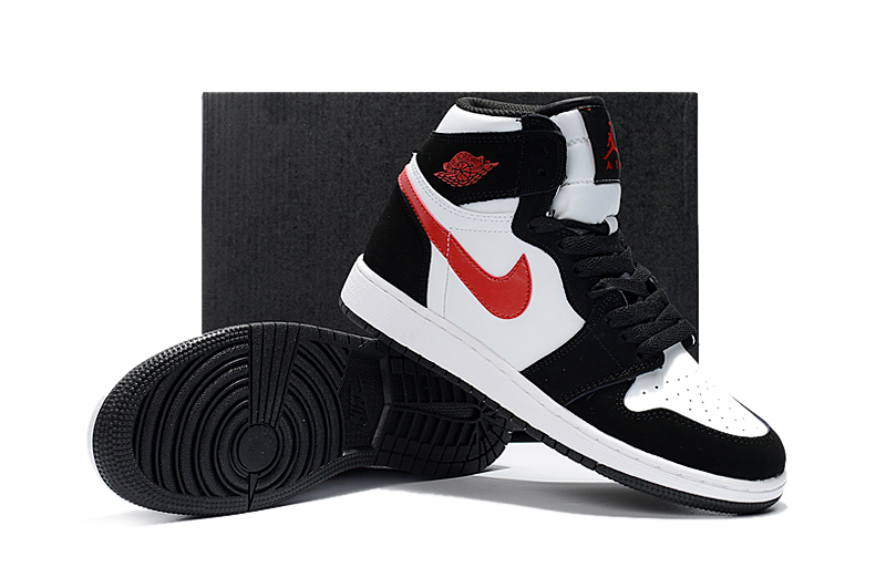 New Air Jordan 1 Retro Black White Red Shoes For Women