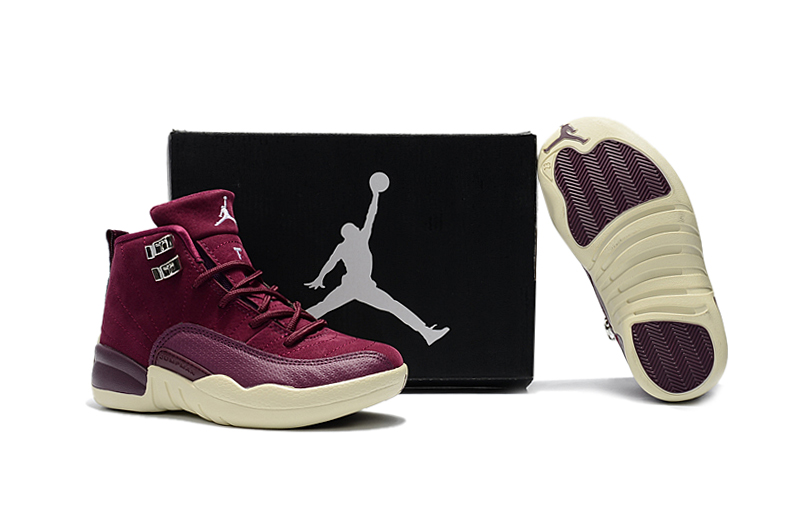 New Air Jordan 12 Wine Red Yellow Shoes For Kids