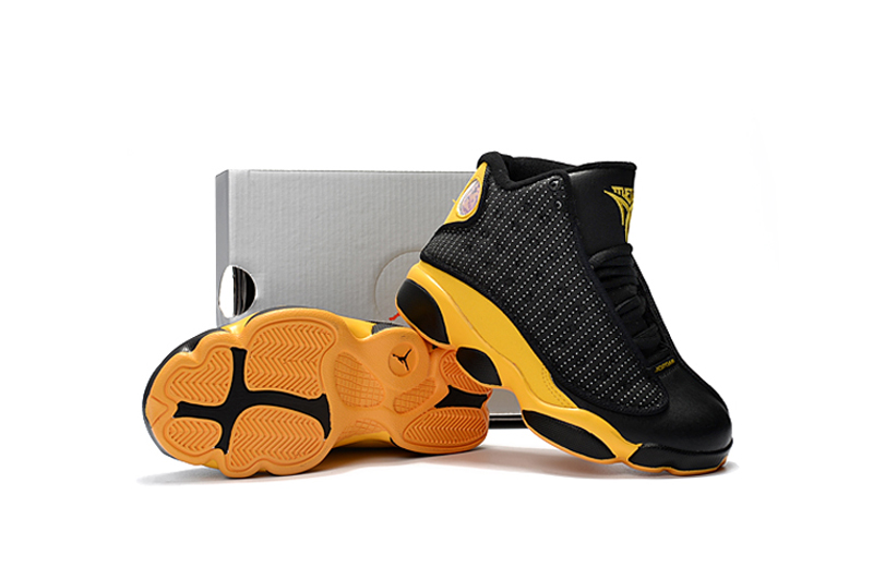 New Air Jordan 13 Black Yellow Shoes For Kids
