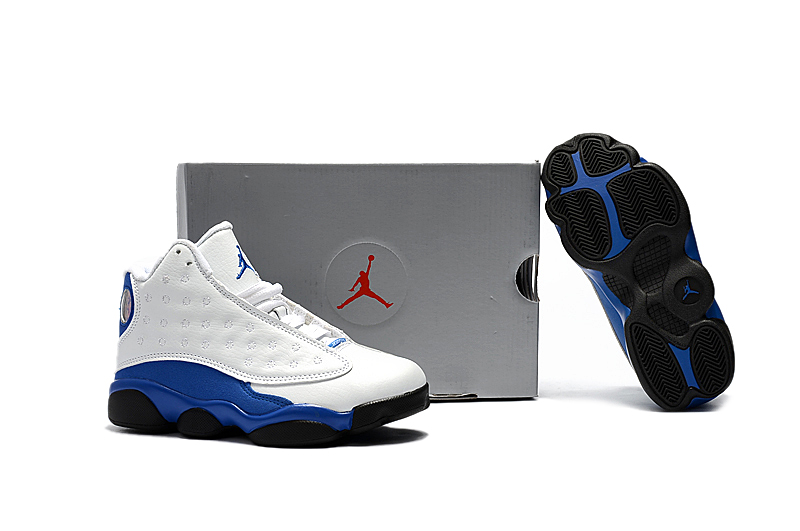 New Air Jordan 13 White Blue Black Shoes For Kids