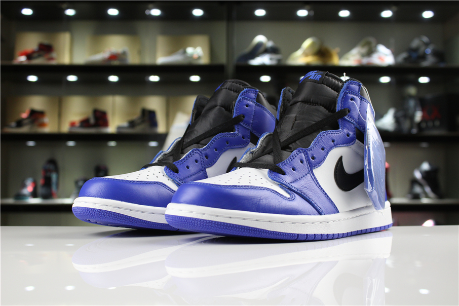 New Men Air Jordan 1 Retro Royal Blue Black White Shoes