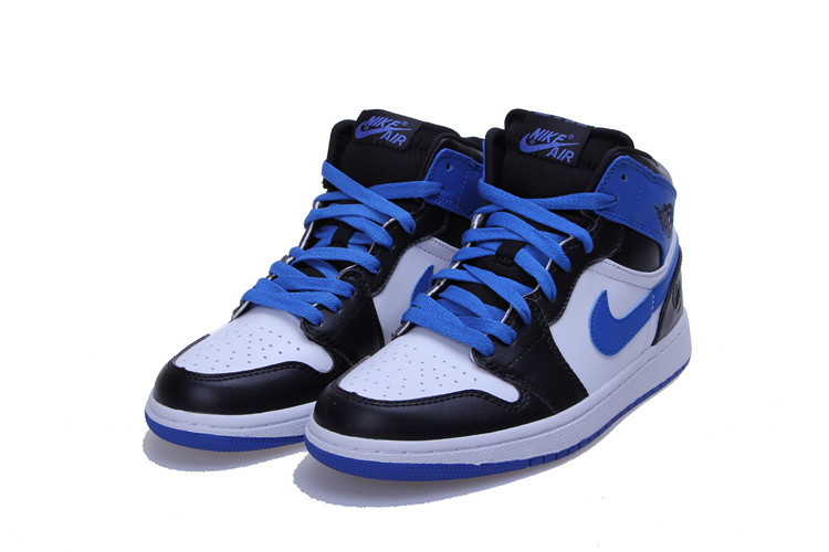 New Air Jordan Retro 1 Blue Black White Lovers Shoes