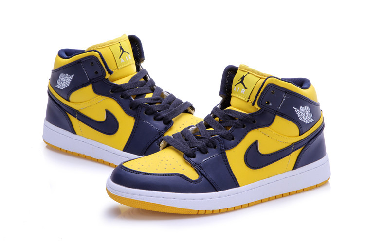 New Air Jordan Retro 1 Dark Blue Yellow Shoes