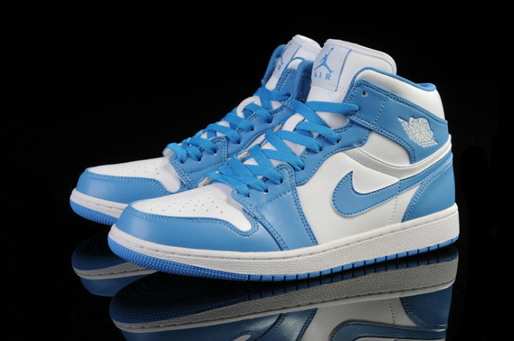 New Air Jordan Retro 1 Light Blue White Shoes