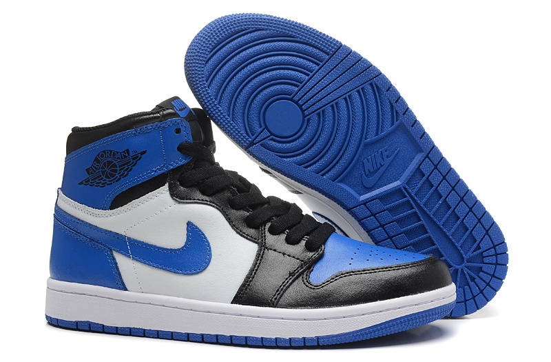 New Air Jordan Retro 1 Black Blue White Shoes