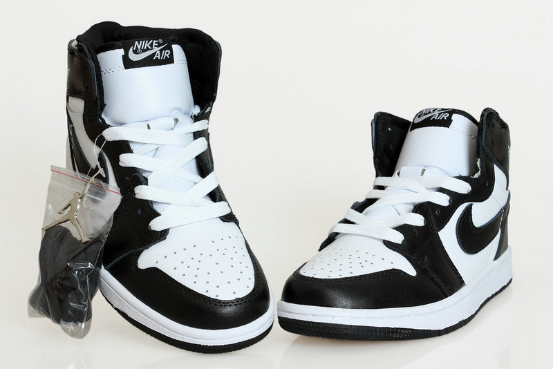 New Air Jordan Retro 1 Black White Shoes
