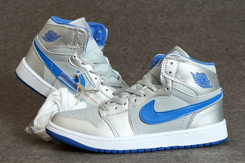 New Air Jordan 1 Retro Silver Blue White Shoes