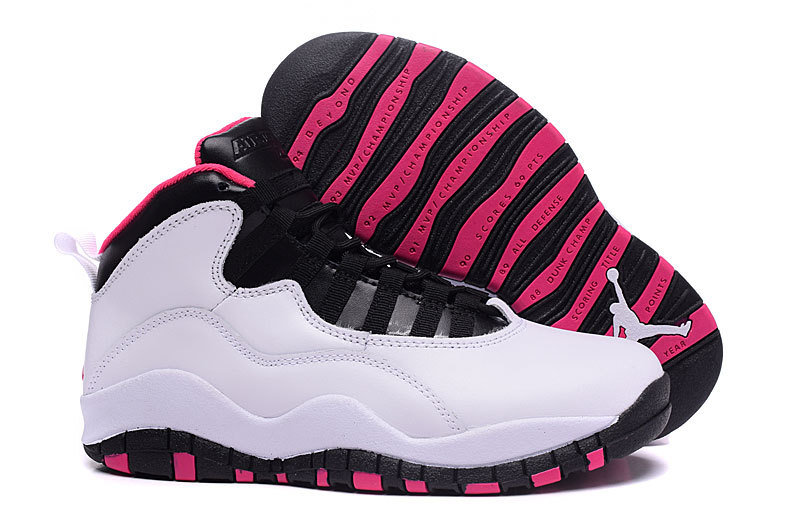 New Air Jordan 10 GS Vivid Pink Pure Platinum Black Vivid Pink
