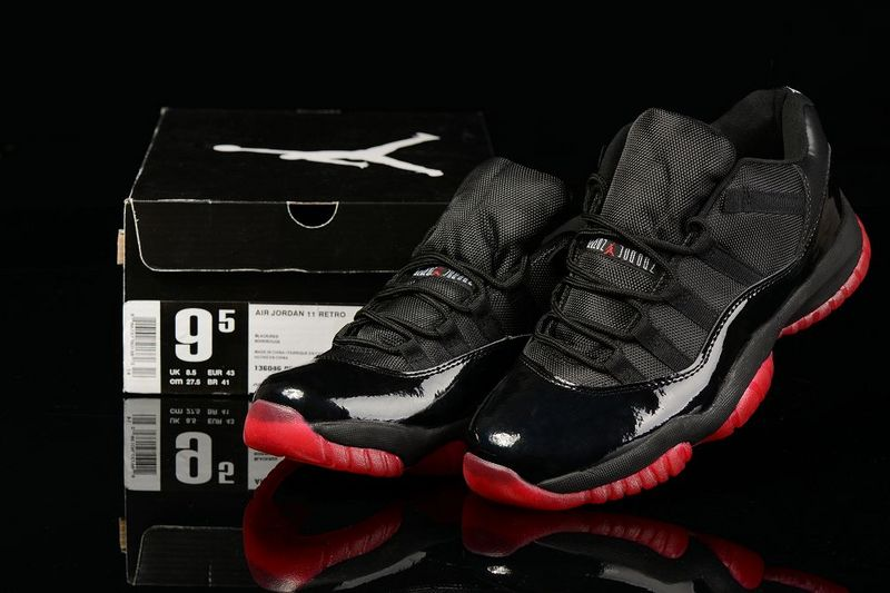 New Air Jordan Retro 11 Low Black Red Shoes
