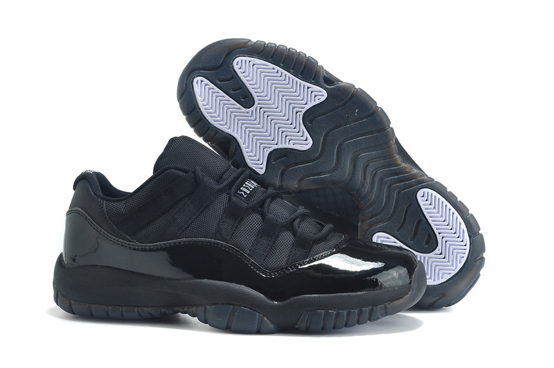 2015 Real Air Jordan 11 Low Cut All Black Lovers Shoes