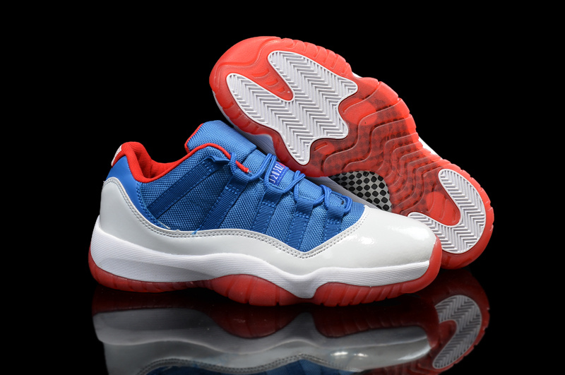 New Air Jordan 11 Low Knicks White Blue Red Shoes