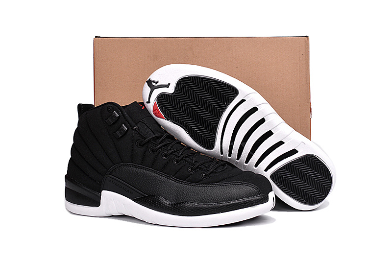 New Air Jordan 12 Black Nylon Black White Gym Red