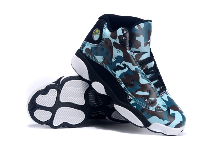new air jordan 13 army blue black white for women