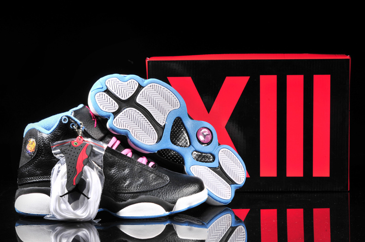 New Air Jordan 13 Black Pink White Blue For Women
