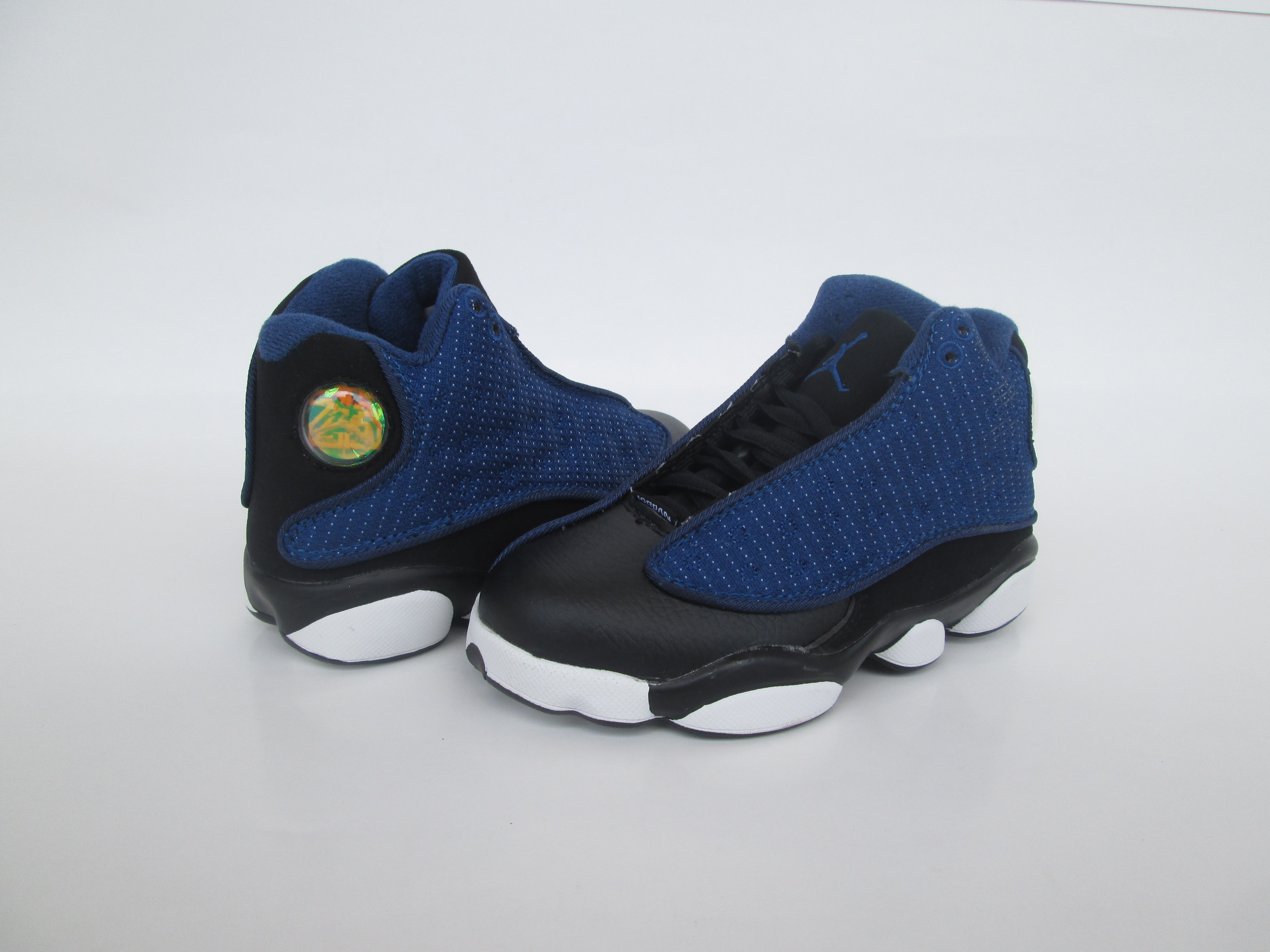 New Air Jordan 13 Deep Blue Black White Shoes For Kids