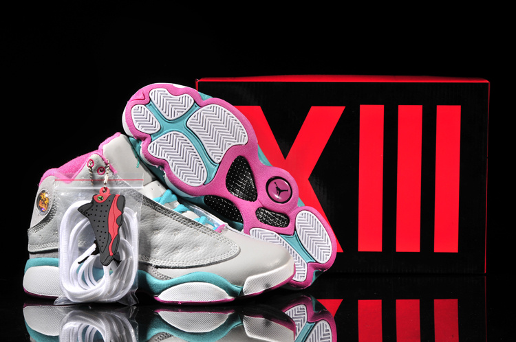 New Air Jordan 13 Grey Blue Pink White For Women