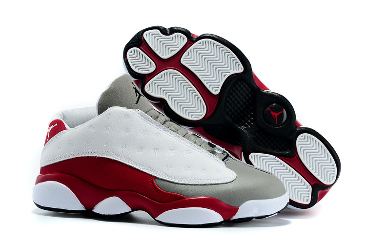 Cheap 2015 Air Jordan 13 Low White Grey Wine Red Shoes