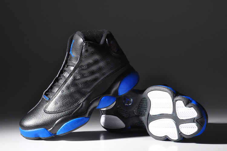 New Air Jordan Retro 13 Black Shine Blue Sole Shoes