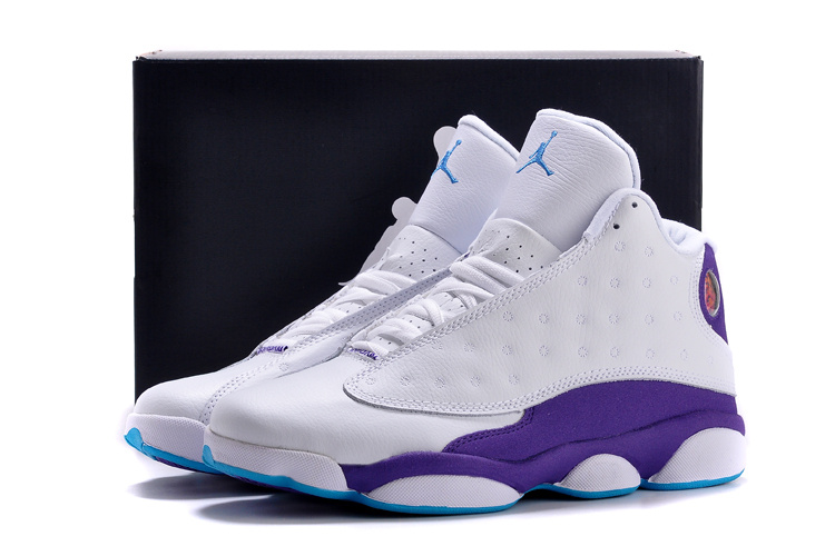 New Air Jordan Retro 13 White Purple Shoes