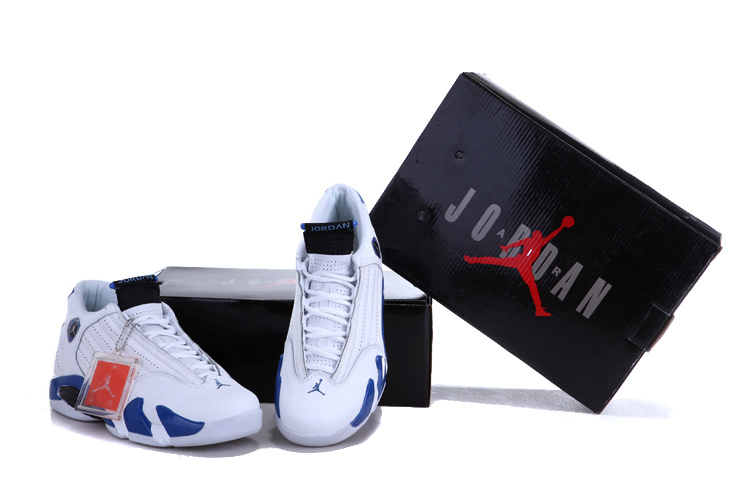 New Air Jordan Retro 14 White Royal Blue Shoes