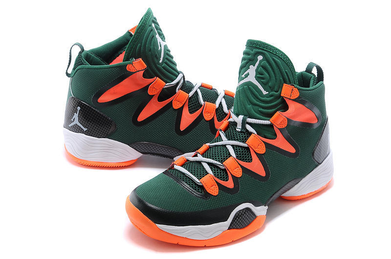 Cheap 2015 Air Jordan 28 Green Orange White Shoes