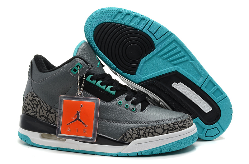 New Jordan Retro 3 Black Grey White Blue