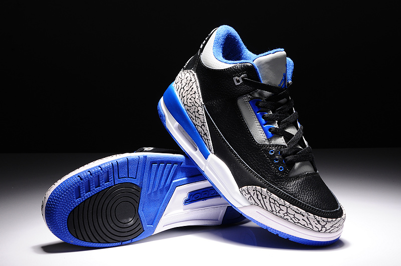 New Air Jordan 3 Retro Black Blue Grey Shoes