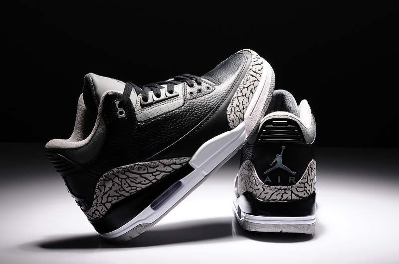 New Air Jordan 3 Retro Black Grey White Shoes