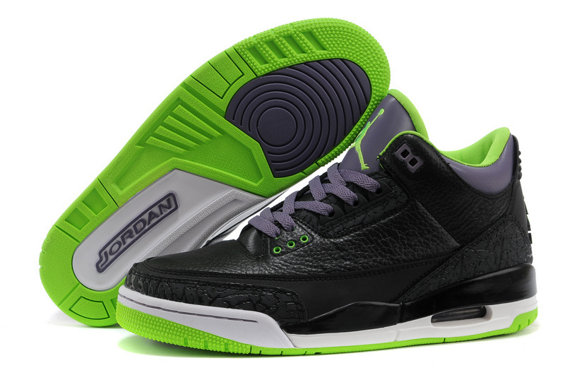 Cheap 2015 Air Jordan 3 Retro Black Purple Green Shoes