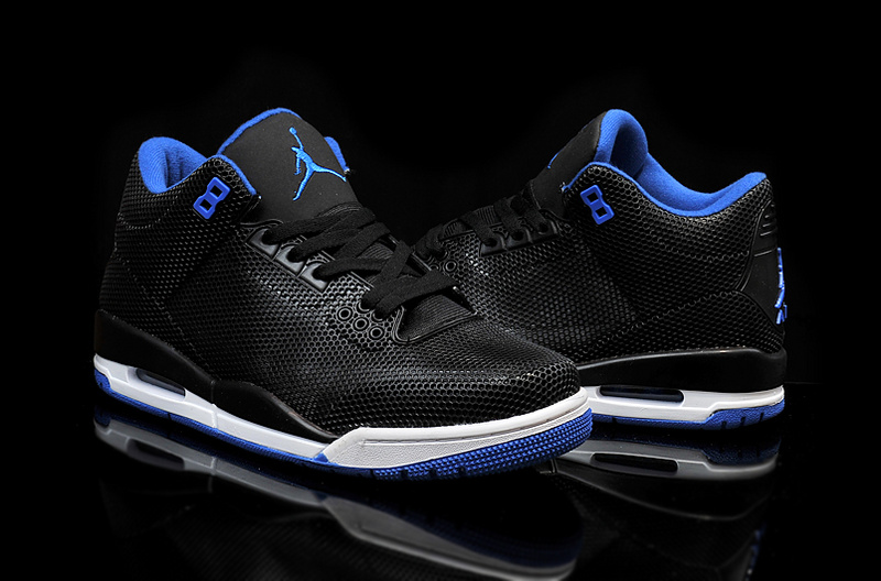 Cheap 2015 Air Jordan 3 Retro PVC Black Blue White Shoes