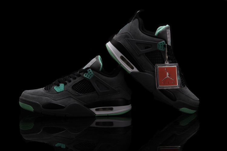 New Air Jordan Retro 4 Black Green Shoes