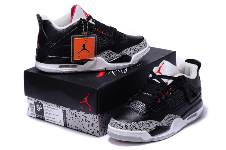 New Air Jordan Retro 4 Black Grey Cement Shoes
