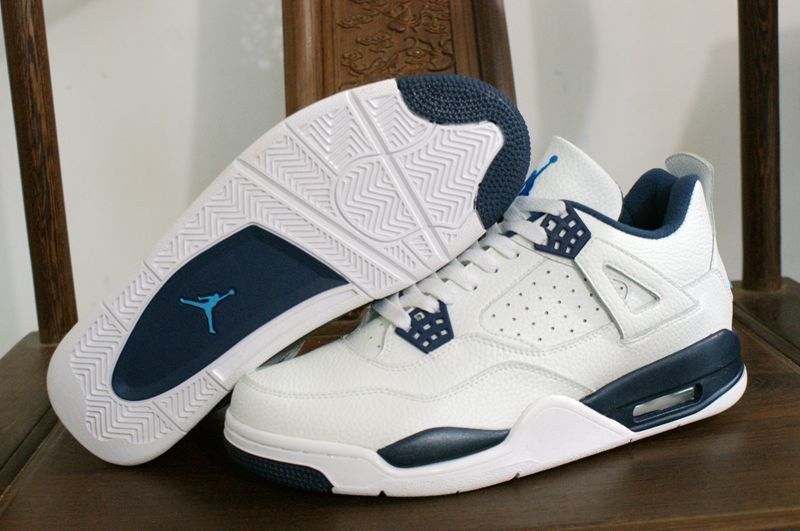 New Air Jordan 4 Retro Columbia White Blue Shoes