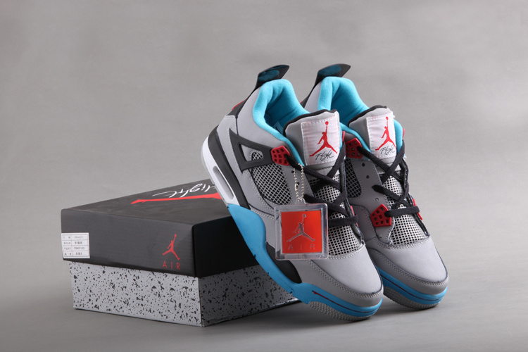 New Air Jordan Retro 4 Grey Blue Black Shoes