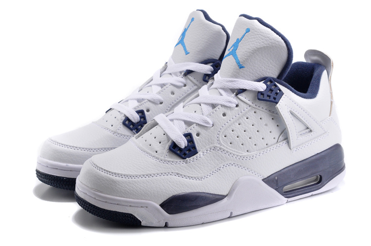 New Air Jordan Retro 4 White Dark Blue Shoes