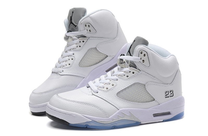 New Air Jordan Retro 5 All White Shoes
