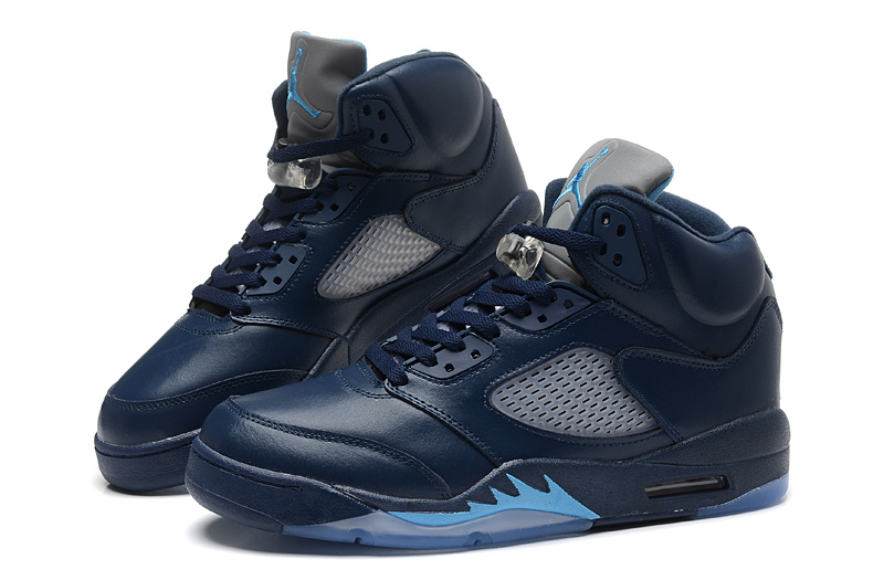 New Air Jordan Retro 5 Dark Blue Shoes